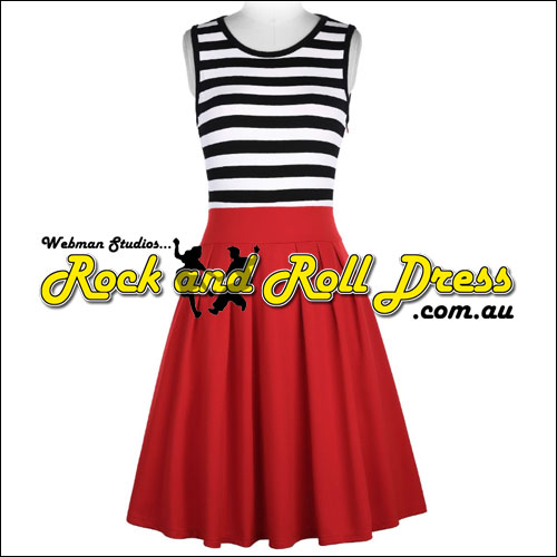 Stripe top and A-line red skirt rock and roll dress S-XL