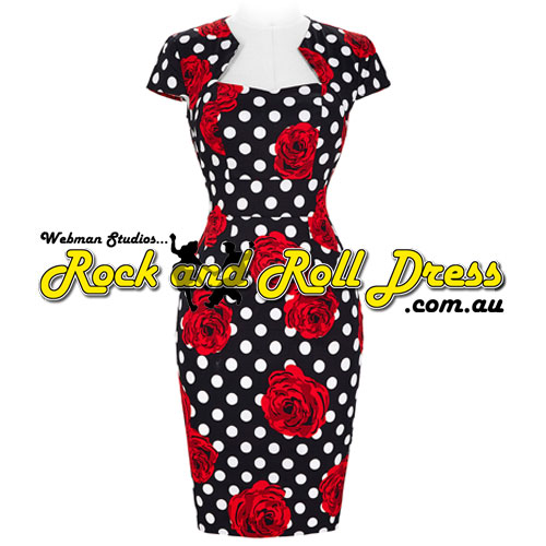 Bridgette red rose rock and roll dress S-XL