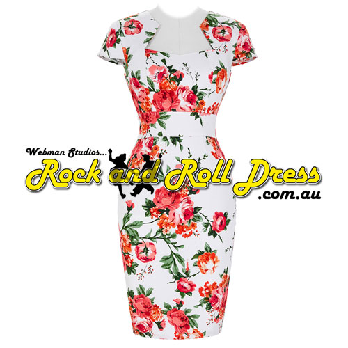 Bridgette red floral rock and roll dress S-XL