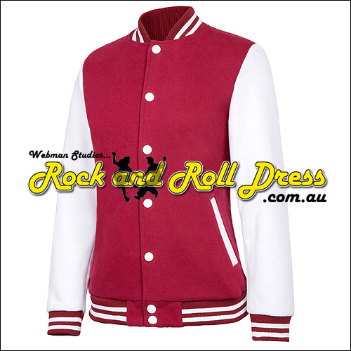 50's rock and roll high school sweater Burgundy/White