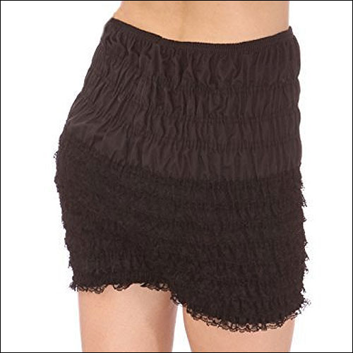 Black rock and roll frilly dance shorts