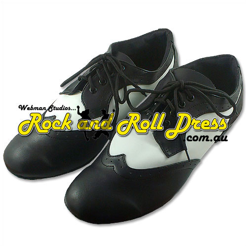 Men's black n white rock and roll dance shoes size 6 - 16