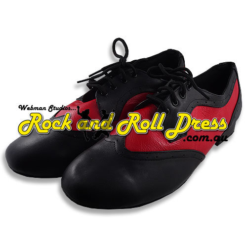 Men's black red rock and roll dance shoes in sizes 6 - 16