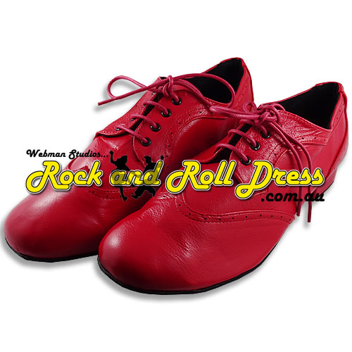 Men's red rock and roll dance shoes in sizes 6 - 16