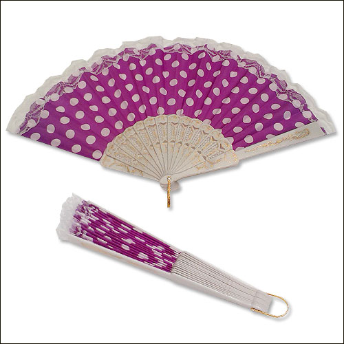 Purple white polka dot lace top rock and roll hand fan