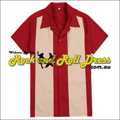 Red cream panel rock and roll shirt