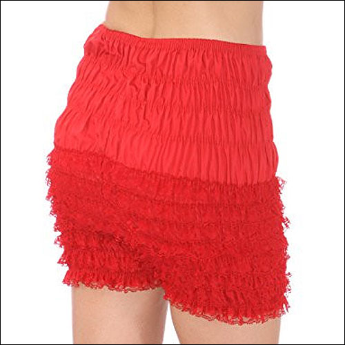Red cotton ruffle pettipants