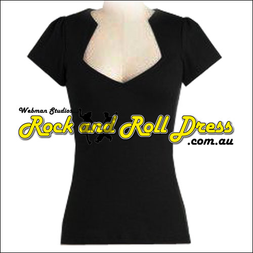 Black rock and roll cotton top