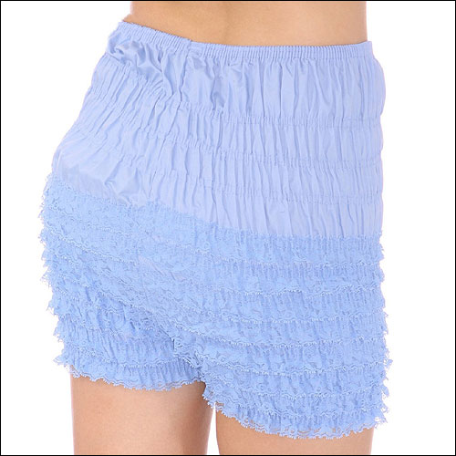 Light blue rock and roll frilly dance shorts