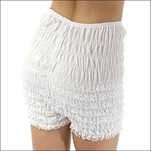 White rock and roll frilly dance shorts