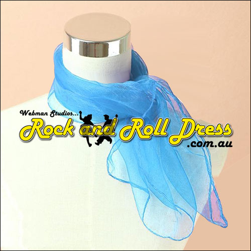 Image of Sky blue 50s rock and roll scarf