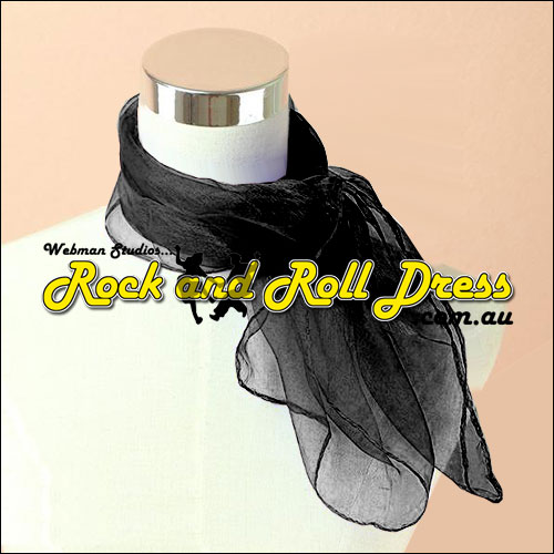 Black rock n roll chiffon scarf