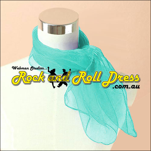 Teal rock n roll chiffon scarf