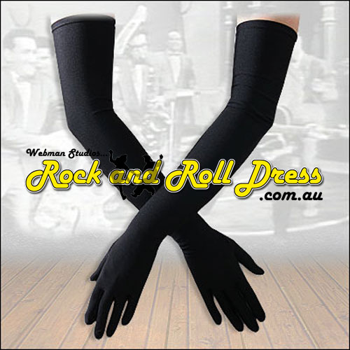 Image of Burlesque black Lycra rock and roll gloves