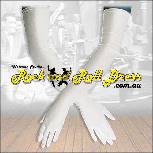 Image of Burlesque white Lycra rock and roll gloves