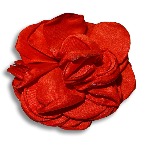 Red rose silk hair flower clip
