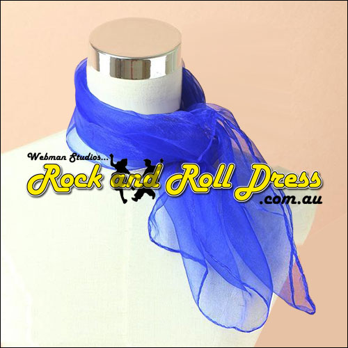 Blue rock n roll chiffon scarf