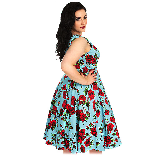 Hearts and Roses Ditsy Rose plus size swing dress in sizes 16-24