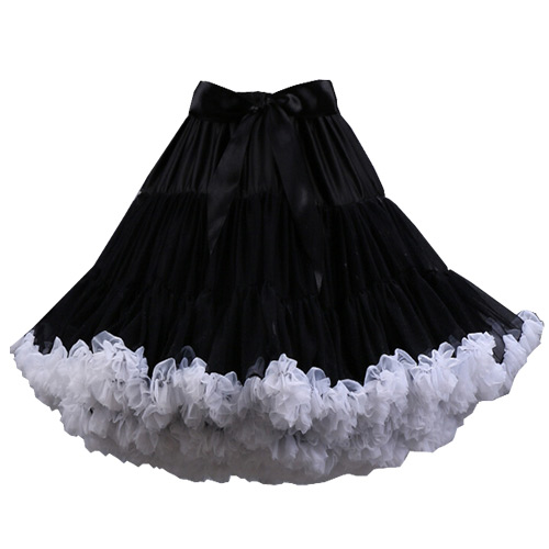 Black white ruffle super-soft rock and roll petticoat