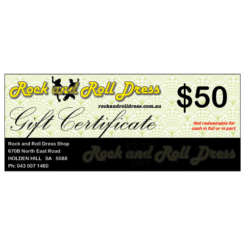 $50 Rock and Roll Dress gift certificate