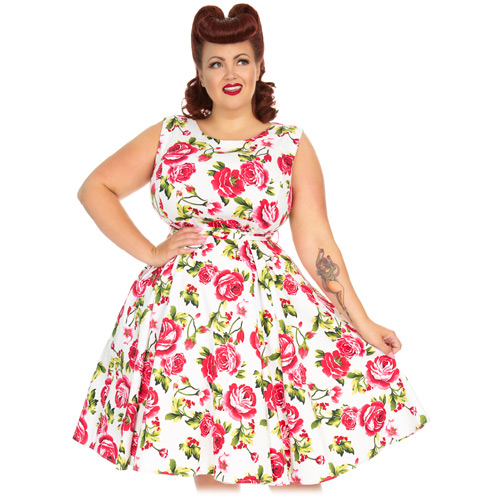 Hearts and Roses Sweet Rose plus size swing dress in 16-24