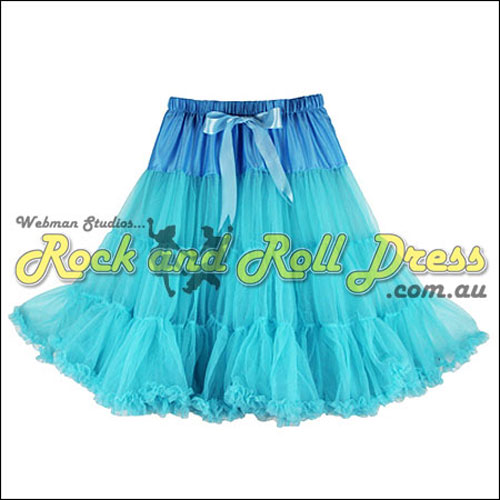 Image of 1 layer super-soft light blue rock and roll petticoat 65cm long