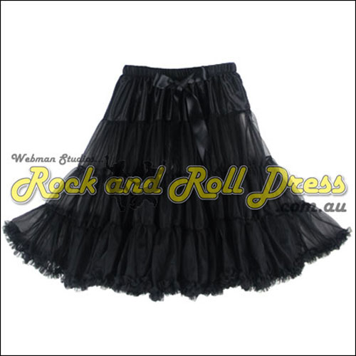 Image of 65cm 1 layer super-soft black retro vintage petticoat