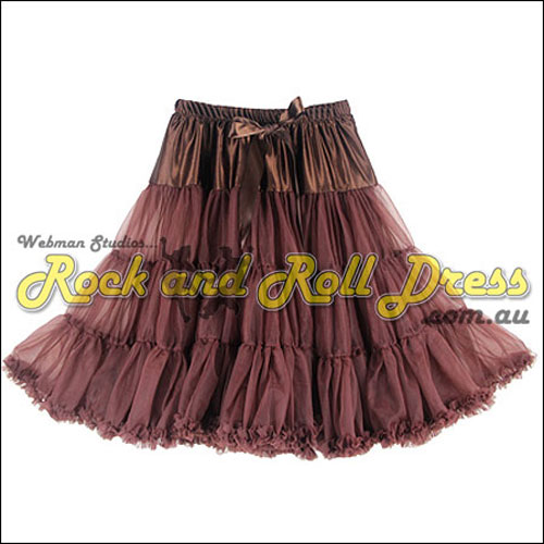Image of 1 layer super-soft coffee rock and roll petticoat 65cm long