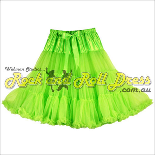65cm 1 layer super-soft lime rock and roll petticoat