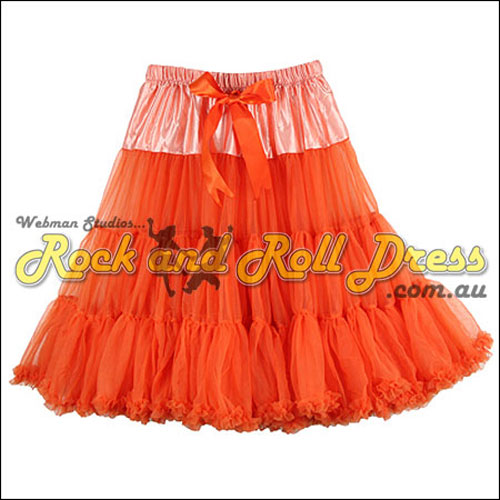 Image of 1 layer super-soft orange rock and roll petticoat 65cm long