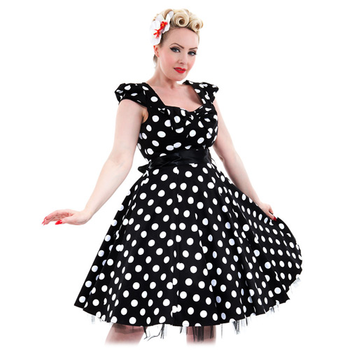 Hearts and Roses polka dot plus size swing dress in 16-24