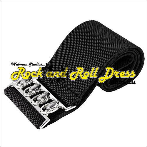 75mm wide black elastic rock and roll belt S - 3XL
