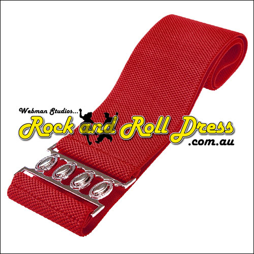 75mm wide red elastic rock and roll belt S - 3XL