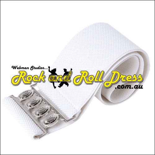 75mm wide white elastic rock and roll belt S - 3XL