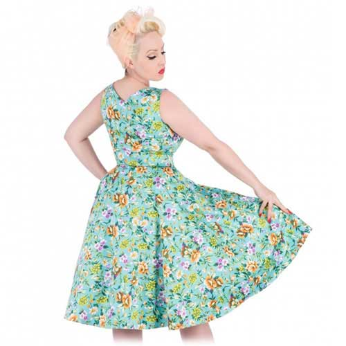 Aqua floral vintage style swing dress sizes 14/16 and 16/18