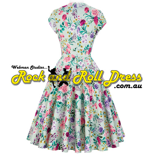 Rhiannon Lee green pink purple floral rock and roll dress S-XL