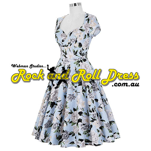 Image of Rhiannon Lee silver floral rock and roll dress S-XL