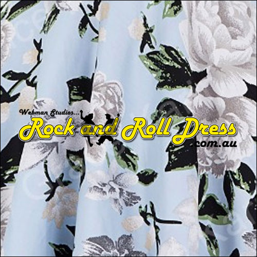 Rhiannon Lee silver floral rock and roll dress S-XL