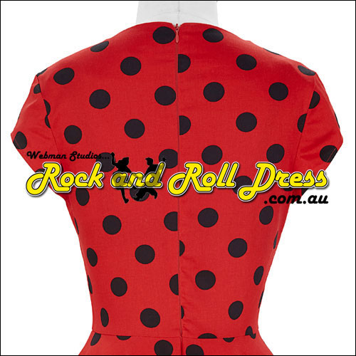 Red black polka dot rock and roll dress S-XL