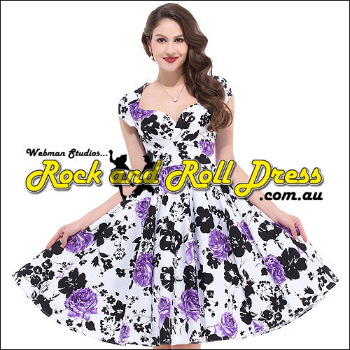 Purple n black vintage floral rock n swing dress