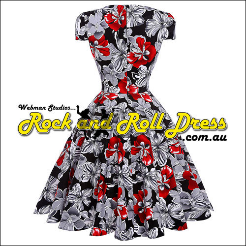 Rhiannon Lee red and grey floral rock and roll dress S-XL