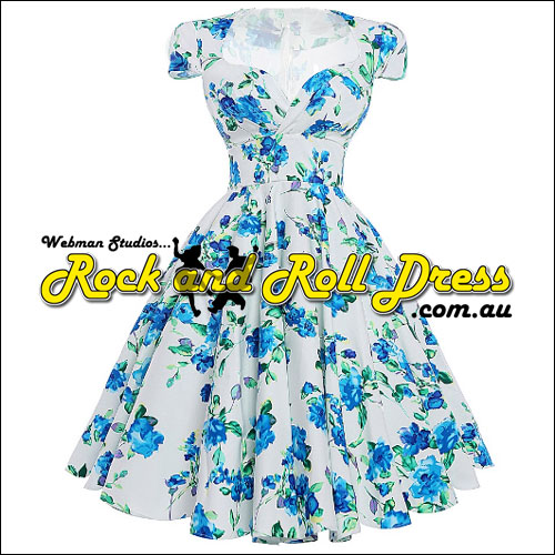 Image of Rhiannon Lee blue floral rock and roll dress S-XL