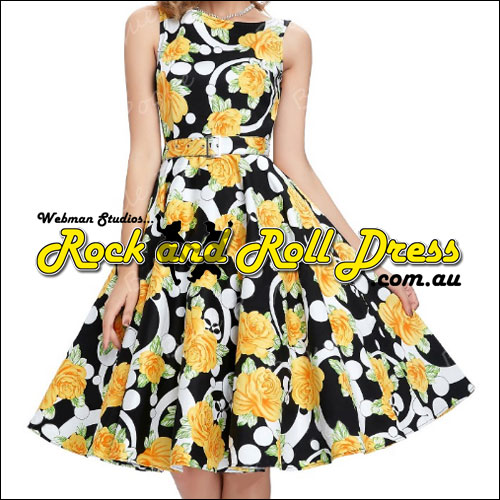 Sheridan Kate yellow floral rock and roll dress S-XL