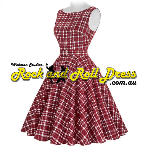 Audrey burgundy plaid rock and roll dress S-XL