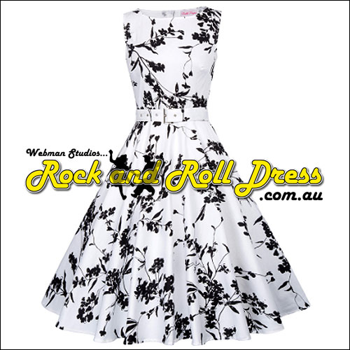 Image of Audrey black floral print rock n swing dress