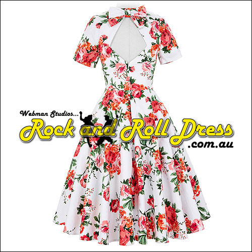 Pink vintage floral rock n roll swing dress S-XL