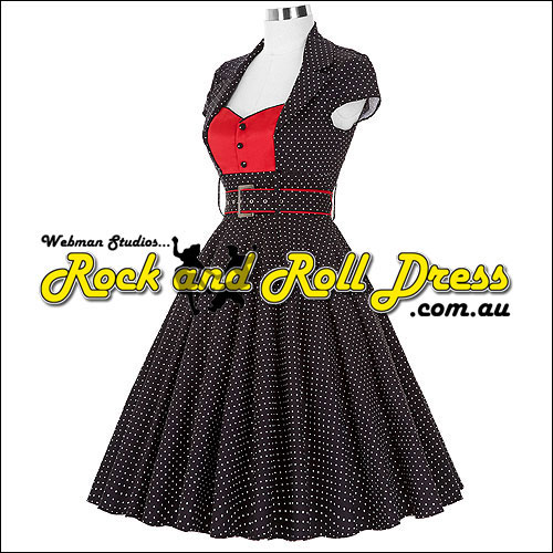 Black white polka dot rock and roll dress S-XL