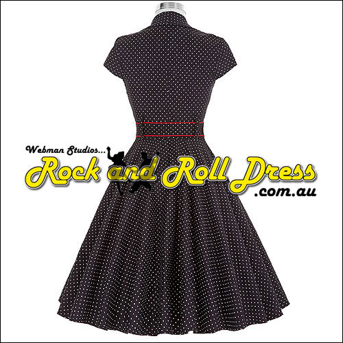 Black white polka dot rock and roll dress - Click Image to Close