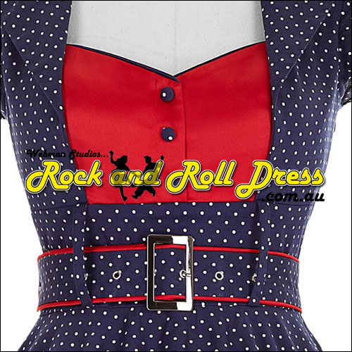 Navy white polka dot dress with red blouse insert