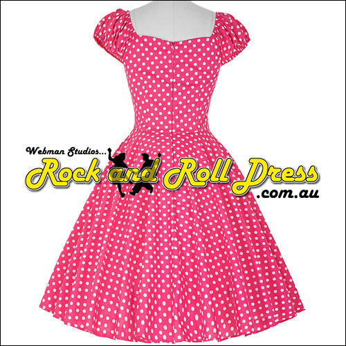 Pink white polka dot rock and roll dress S-XL